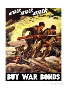 World War II Propaganda Poster of Soldiers Assaulting a Beach with Rifles Art Print