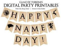 Game of Thrones Name Day Digital Party Printable Banner Birthday Bunting