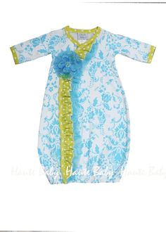Haute Baby Ditzy Damask Kimono Baby Gown