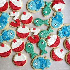 Love these birthday cookies! #fish #bobbers #cookies