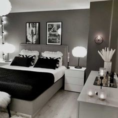 Grey Bedroom Decor, Room Design Bedroom, Stylish Bedroom, Room Ideas Bedroom, Small Room Bedroom, Home Bedroom, Silver Bedroom, Master Bedroom, Luxurious Bedrooms