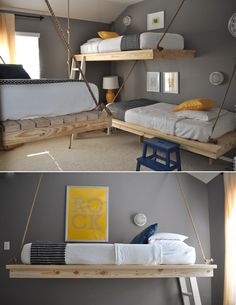 loving the grey, sunflower, & white color palette of this kids room!  The raw wood & rope add a little rustic edge as well....