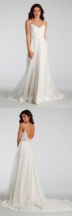 Chic Lace Beach Spaghetti Straps Long Wedding Dresses WD129,Wedding Dresses,Bridal Gowns