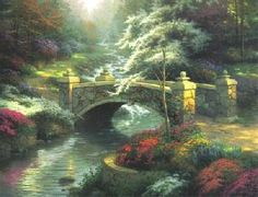 """Thomas Kinkade's """"Bridge of Hope"""".  His paintings are so serene and magical.  It makes me long for hiking in the woods, hoping to discover something even half as beautiful."""