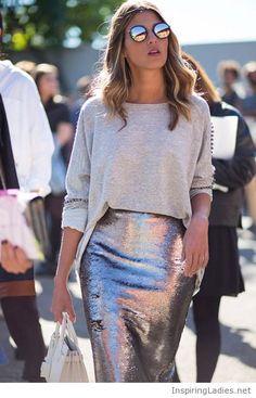 448da3d46a6 METALLICS    Street Style Milan barrios de moda with metallic skirt and  shades
