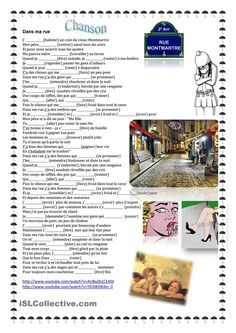 Chanson Dans ma rue French Teacher, Teaching French, A Level French, French Conversation, High School French, French Worksheets, French Songs, School Songs, Core French