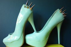 Spiked Angel Blue High Heel Shoes Size 7 by TinaBinaArt on Etsy, $65.00