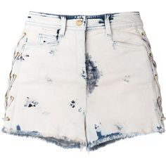 Balmain bleached lace-up denim shorts (€815) ❤ liked on Polyvore featuring shorts, blue, short jean shorts, balmain, bleached jean shorts, lace up shorts and blue shorts