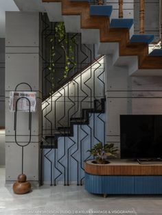 Bungalow Elevation is a Play Of Patterns and Textures Stair Railing Design, Staircase Railings, Stairways, Wood Stairs, Duplex House Design, Apartment Design, 3 Storey House Design, Bedroom Apartment, 1920s Interior Design
