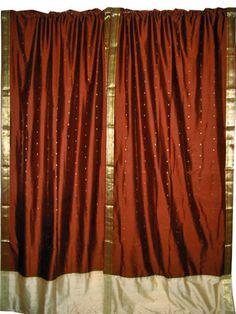 "2 Brown Beige Art Silk Sari Curtains Drapes Panels India Decor 96"""