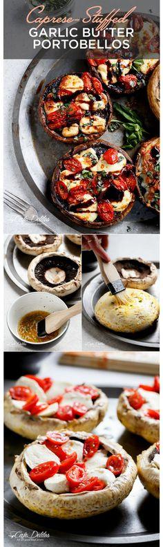 Portobellos con mantequilla de ajo rellenos de capresa | 7 Cenas fáciles para probar esta semana