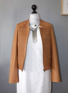 Blouson cuir tressé camel IKKS - Taille XL- prix initial 475 euros
