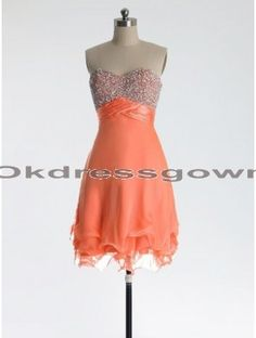 coral short sweetheart chiffon prom dress, prom dresses under 150