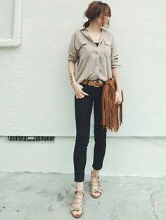Same color in two places:   tee/cami and skinnys  with button-up