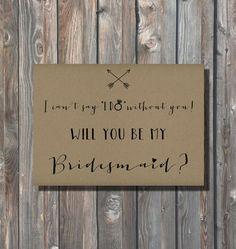 Printable Bridesmaid Card - Bridesmaid Proposal-Printable 5x7 Invitation-Rustic Wedding Invite-Instant Download-Will You Be My Bridesmaid