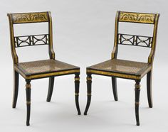 Antique Pair Regency Gilded Caned Side Chairs Silver Antiques