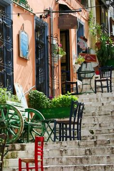 Steps of Plaka . Athens, Greece