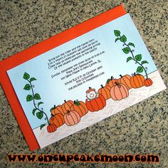 lil pumpkin baby shower or autumn 1st birthday party fully custom invitations with orange envelopes - set of 10