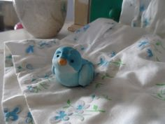 A Blue Bird friend polymer clay  Moss Garden Collectibles by Raquel at the WRC on Etsy, $16.00