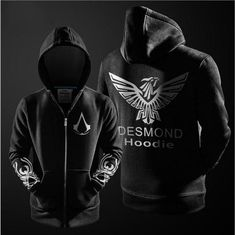 77d631c4f4 2016 Autumn Winter Assasins Creed Hoodie Men Black Cosplay Sweatshirt  Costume Fleece Lined Assassins Creed Mens Hoodies Jackets