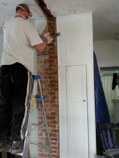 Remove plaster from brick chimney