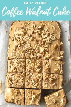 This easy Coffee and Walnut cake is made in a traybake tin using a normal butter sponge cake recipe. Rich coffee and chopped walnuts lend a sophisticated flavour to this traditional British dessert. Then it is topped with a coffee flavoured icing and decorated with more chopped walnuts, making this the perfect sweet for your morning break. Butter Sponge Cake Recipe, Fudge Icing Recipe, Sponge Cake Recipes, Chocolate Traybake, Chocolate Topping, Coffee Icing, Coffee Cake, Baking Recipes, Dessert Recipes