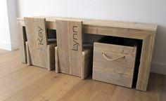Would have loved it more if the chairs and box fit perfectly under the desk! Pallet Furniture, Furniture Projects, Wooden Playset, Old Pallets, Kids Corner, Modern Kitchen Design, Kids Room, Home Improvement, House Design