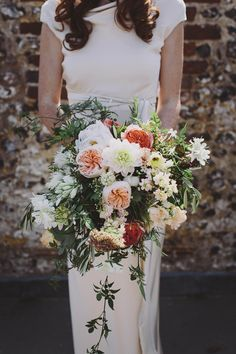 Bouquet Flowers Natural Peach Dahlia Rose Greenery Foliage Wild Bride Bridal Whimsical Outdoor Floral Wedding http://www.lukehayden.co.uk/