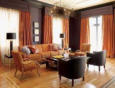 orange-color-interior-design  - DINING ROOM (orange, grey, brown, black, metals)