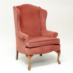 Celeste wingback chair: Coral velvet wingback chair.  Similar to the one in my living room, which is less pink.  Goodwill, $14