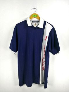 d20266a5 Vintage 90's TOMMY HILFIGER Shirt Men Medium Vintage Hip Hop Tommy Spell  Out Sailing Gear Tommy Jeans Polo Shirt Men Size M
