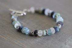 Rustic Modern Edgy Mixed Gemstone Bracelet by MossyCreekStudio