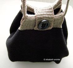black bag with brown edge and handles - elisabeth andree