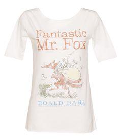 Ladies White Roald Dahl Fantastic Mr Fox Slouch Scoop Neck T-Shirt