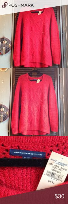 Red Diamond American Eagle Knit Sweater Brand new with tags perfect condition! Open to offers and I can post on merc American Eagle Outfitters Sweaters Crew & Scoop Necks