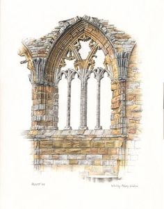 Whitby Abbey Window, Paintings and Drawings, Howard Levitt, SAA Professional Members' Galleries Pencil Drawings, Art Drawings, A Level Art Sketchbook, Building Drawing, Building Illustration, Color Pencil Art, Detailed Drawings, Window Art, Watercolor Sketch