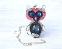 Owl necklace Soutache sweet owl by ShoShanaArt on Etsy, $20.00