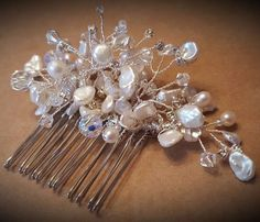 Bridal hair comb with freshwater pearls, moonstones and Swarovski® beads