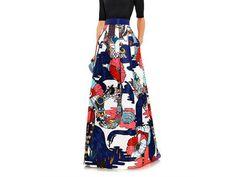 Midlar poppies liquorice print skirt from Mary Katrantzou