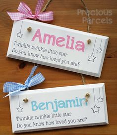 Precious parcels handmade gifts door plaques name plaques and new baby gifts name plaques wall hangers keepsakes negle Choice Image