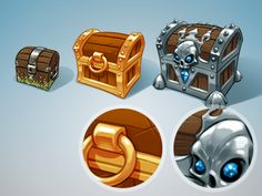 These are icons for a game i'm working on. Starter packs full of various in-game loot. Will be released within a few days. Also showing some details here to demonstrate how I layer my digital brush...