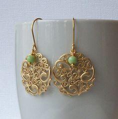 Vintage Green and Gold Pendant Dangle Earrings, Eco-Friendly Earrings. $24.00, via Etsy.