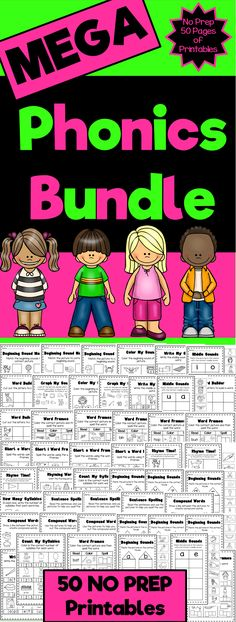 Phonics Printable Worksheet Bundle Pack. Includes 50 different activities which cover beginning sounds, middle sounds, ending sounds, spelling of CVC words, syllables and rhyme.