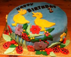 Spring-themed birthday cake