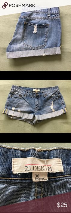 21 Denim distressed jean shorts 21 Denim distressed jean shorts. Shorts are in new condition, they are a size 30. 💞 21 Denim Shorts Jean Shorts