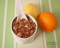 Homemade Granola- plain. This is good, basic granola. I did 1 TBS of brown sugar and 1 TSP vanilla and it was just sweet enough. I do not, however, recommend spreading it on wax paper to bake. Oh the peeling. ;)