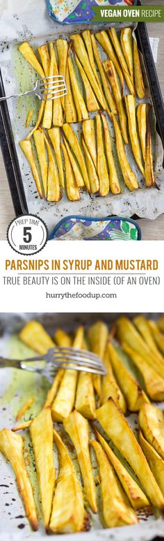 Parsnips in Syrup and Mustard. True beauty is on the inside (of an oven) | #sidedish #Christmas #vegan | hurrythefoodup.com