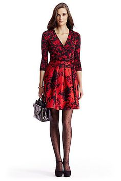 DVF Jewel Silk Combo Wrap Dress in Floral Daze Black/ Red  by DVF