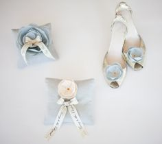 ring pillows & shoe clips by emerson made Becoming An Event Planner, Ring Pillows, Shoe Clips, Something Blue, Handmade Flowers, Cute Couples, Event Planning, Things To Come, Emerson