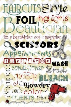Hair Salon Printable Subway art, perfect for a Salon décor!